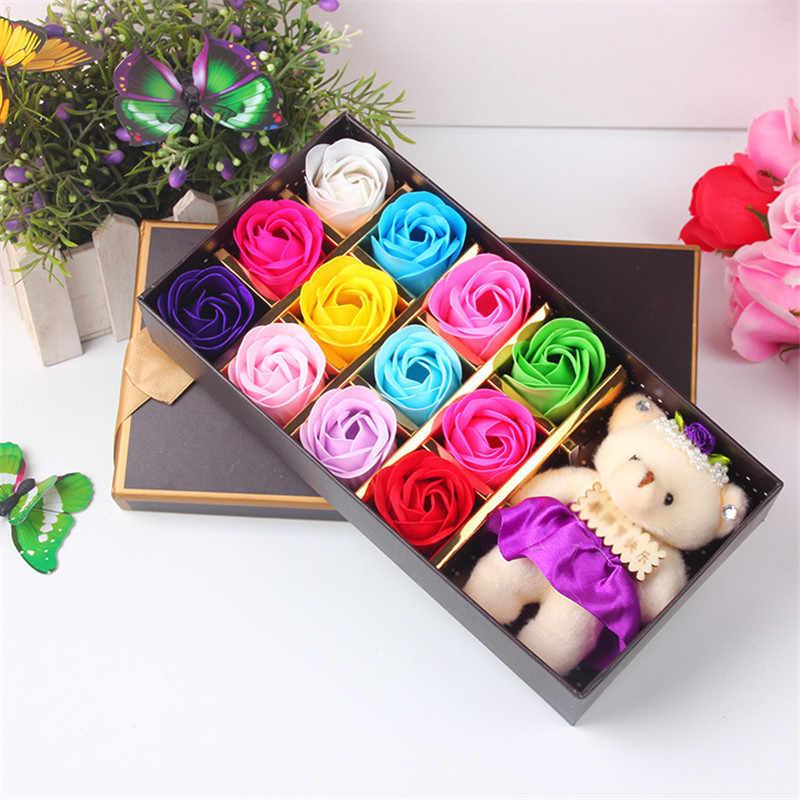 Kawaii Plush Buatan Teddy Bear Mainan dengan Buket Sabun Cetakan Bunga Mawar Cetakan Hari Valentine Penyiangan Dekorasi Bunga Kotak