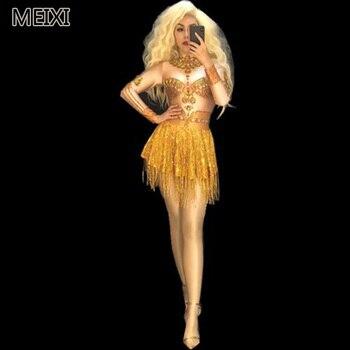 Super sexy shiny gold apron tassel diamond rhinestone elastic dress bar nightclub concert singer dancer costume