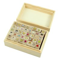 SZS Hot 40pcs Set Happy Life Diary Girl Cute Cartoon Mounted Rubber Stamp Wooden Box