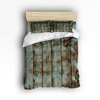 Charmhomeヴィンテージ古い木材3dプリント掛け布団寝具セット4ピース布団カバーシーツ枕ケースサイズツインフル女王王