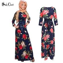 New Fashion Abaya Muslim Maxi Dress Women Islamic Printing hijab Clothing Turkish Clothes Turkey Musulmane Robe