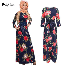 New Fashion Abaya Muslim Maxi Dress Women Islamic Printing hijab Clothing Turkish Clothes Turkey Musulmane Robe Modal dresses