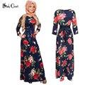 Nuevas Mujeres Del Vestido Maxi de Impresión hijab Islámico Abaya Musulmán Ropa de mujer Ropa Musulmana de Turquía Robe vestidos de Modal