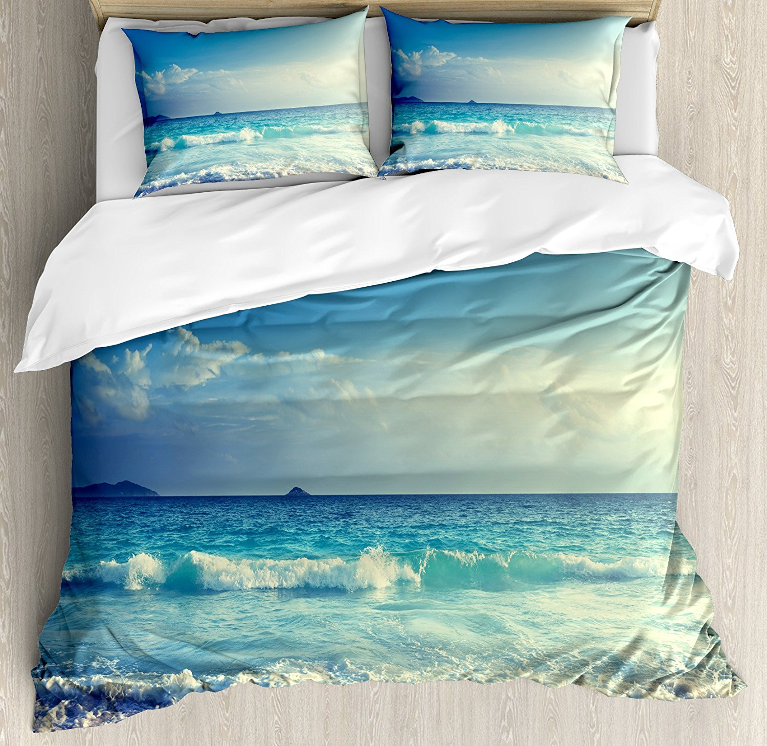Ocean Duvet Cover Set Tropical Island Paradise Beach at Sunset Time with Waves and the Misty Sea Image 4 Piece Bedding Set