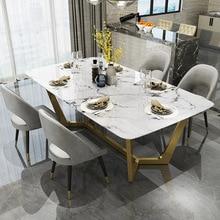 Скандинавский обеденный стол из нержавеющей стали, простой дизайнерский креативный светильник, роскошный прямоугольный мраморный обеденный стол из нержавеющей стали
