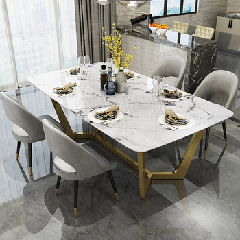 Nordic Stainless Steel Dinette Combination Simple Designer Creative Light Luxury Stainless Steel Rectangular Marble Dining Table