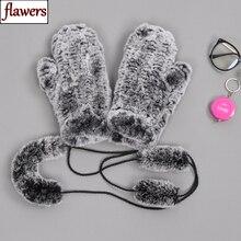 Эластичные женские перчатки из натурального меха ручной работы, вязаные митенки из 100% натурального кроличьего меха для девочек, зимние теплые мягкие перчатки из натурального меха