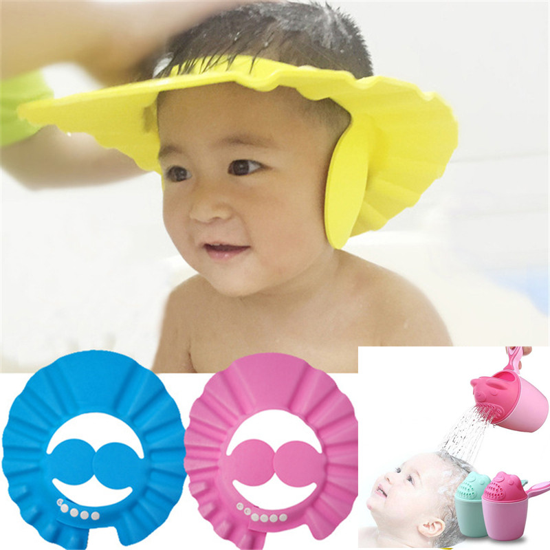 Safety Baby Shower Cap Kids Bath Visor Hat Baby Shower Cap Protect Eyes Hair Cartoon Baby Shampoo Cup Shower Water Spoon image