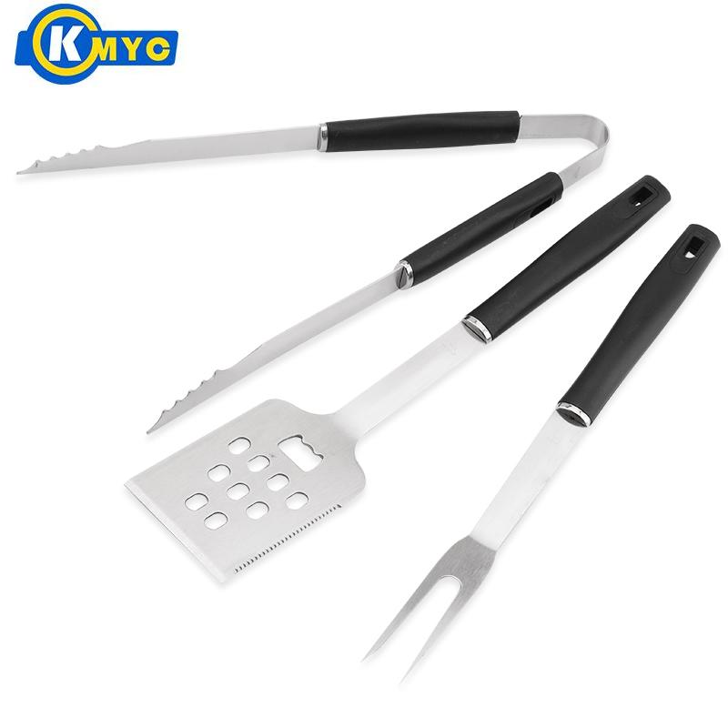 KMYC Stainless Steel BBQ Set Slotted Turner Tongs Fork Barbecue Shovel Food Needle Skewers With PP Handle Outdoor Camping Tools