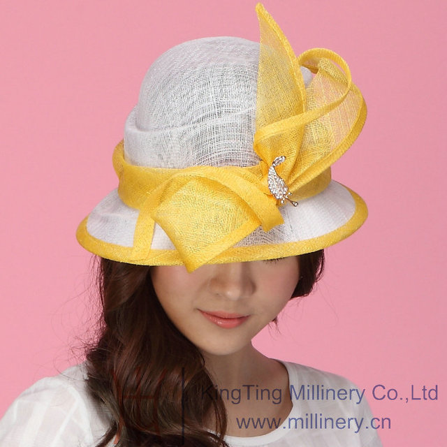 Бесплатная Доставка Новое Прибытие Элегантный Sinamay Hat Sinamay Ленты Женщины Hat Sun-Shading Мода Summer Sun Hat Два Тона цвета