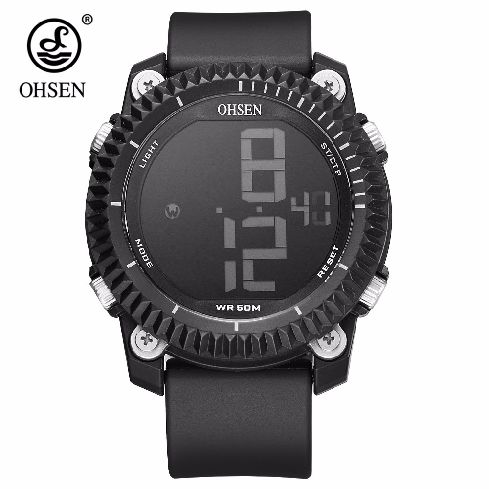 все цены на NEW Original Brand Electronic OHSEN Male Sport Watch Men Wrsitwatch LCD Outdoor 5ATM Waterproof Hombre Relogio Stopwatch Horloge