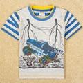 Bebê roupas meninos t-shirt de manga curta meninos carro dos desenhos animados impresso roupas listradas verão nova meninos de algodão meninos moda t-shirt