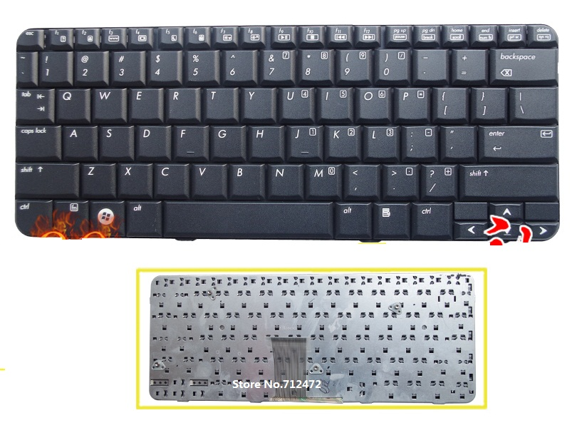 SSEA New US Keyboard black for HP B1200 B2210 TX1000 TX1100 <font><b>TX1200</b></font> TX1400 Pavilion TX2000 TX2100 TX2500 image