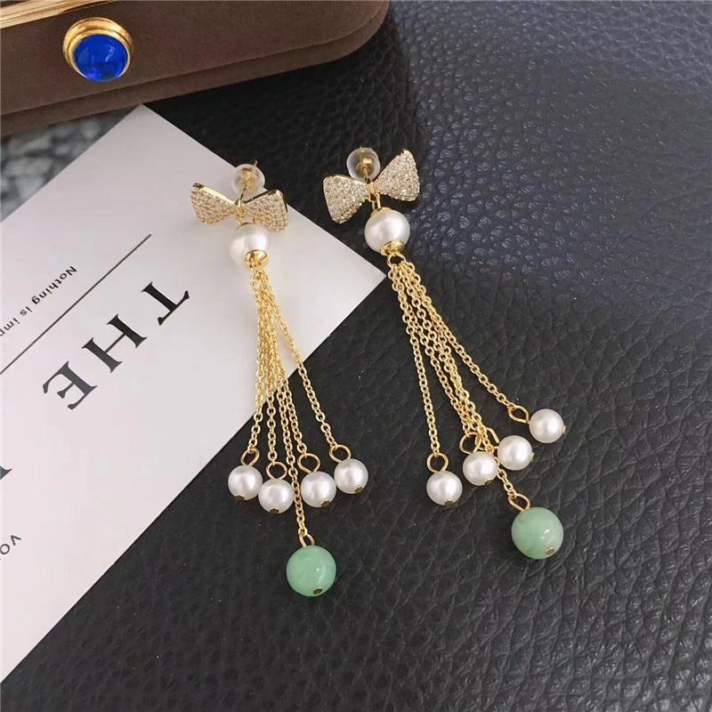 Boucles d'oreilles en perles tissées à la main pour femmes en forme de croissant rempli d'or pour filles, papillon, jadéite frangée, nouveaux cadeaux d'automne