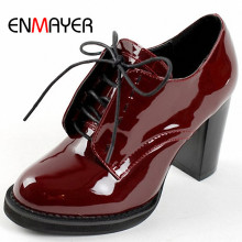 ENMAYER Fashion Women's Ankle Boots Lace-Up Platform Heeled Women Boots for Women Wedding Shoes Big Size 34-43