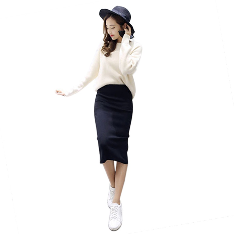 Sexy Chic Pencil Slit Skirts Package Hip Skirt Stretch Slim Thin Female Waist Knee Length Skirts 2018