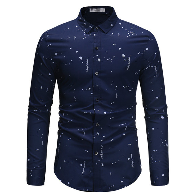 6df5095b0d63 Men Shirt 2019 New Fashion Irregular Print Camisa Masculina Cotton Long  Sleeve Shirt Casual Slim Fit