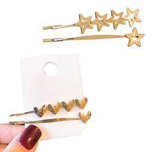 2Pcs Minimalist Metallic Gold One Word Hairpins Women Girls Cute Heart Star Glitter Polished Hair Clips Styling Accessories