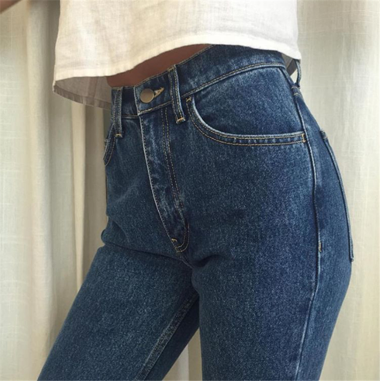 19 korean style women pencil denim pants high waist jeans woman casual vintage jeans boyfriend mom jeans light blue streetwear 3