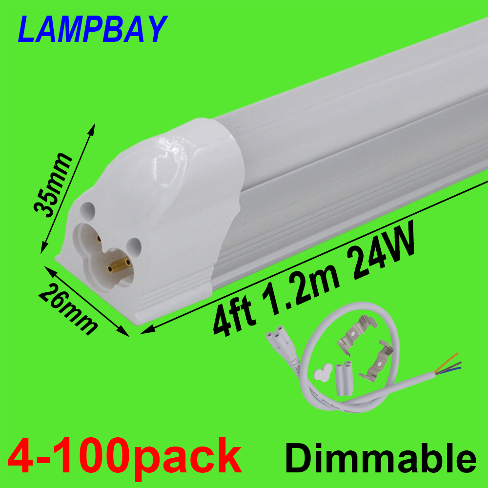 4-100pcs 4ft 120cm T5 Integrated Bulb Fixture Dimmable 20W 24W LED Tube Light with fittings Surface Mounted Lamp Linear Lighting 4 pack free shipping t5 integrated led tube lights 5ft 150cm 24w lamp fixture with accessory milky clear cover 85 277v