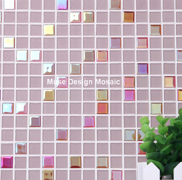Iridescent Pink Crystal Gl Mosaic Tiles Kitchen Backsplash Bathroom Shower Border Tile Wall Sticker Diy Decoration In Wallpapers From Home