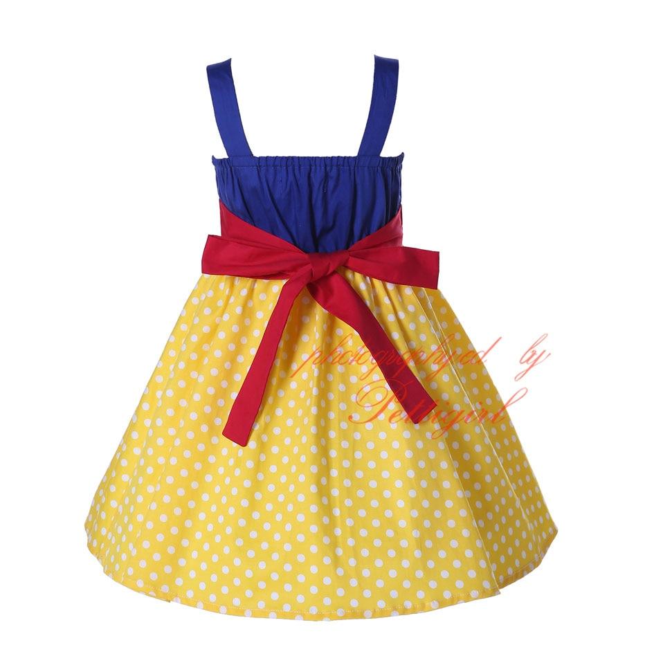 Image 2 - Pettigirl Snow White Girls Costumes Summer Dress Yellow Dot Baby Girl Cotton Dressprincess girl dressgirls dressgirls dresses yellow -