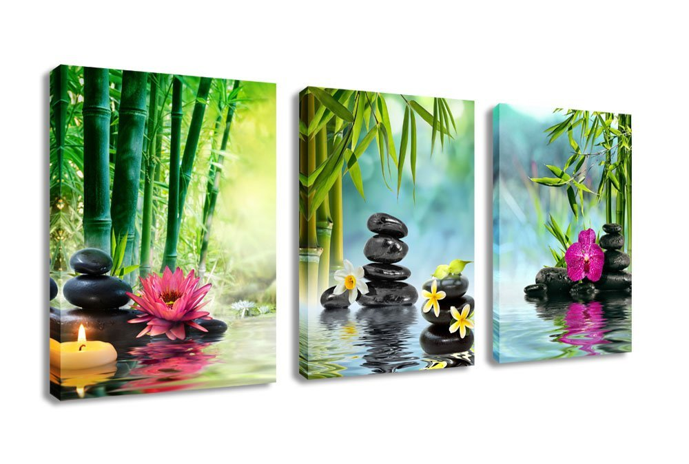 Canvas Painting Wall Art Decor Spa Stone Green Bamboo Pink