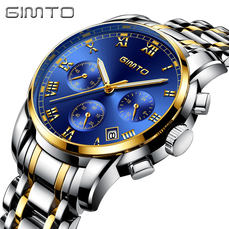 GIMTO Business Sport Watch Men Waterproof Luxury Men Watch Silver Chronograph Multifunction Quartz Watches Pilot Male Clock Men new fashionable men business silver belt gear quartz watch