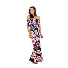 Пикантные Для женщин длинное платье плюс Размеры 5XL элегантные летние принтом Vestidos De Festa Повседневное Макси платье женская одежда Винтаж Бохо одежда