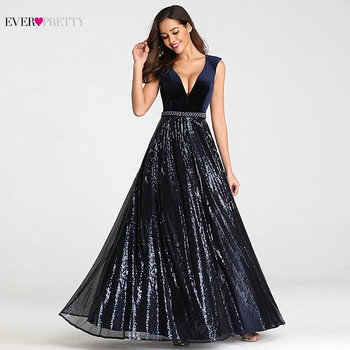 Evening Dresses Long Ever Pretty EP07840 Sexy Deep V-neck Beading Sequined Sparkle New Formal Party Gowns 2020 Abendkleider 3