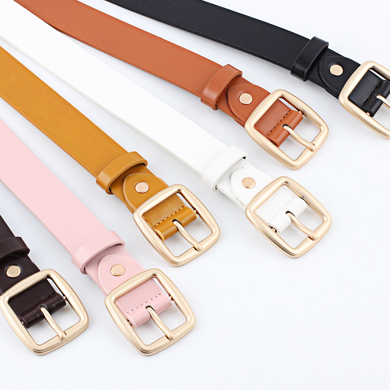 Badinka 2018 New Designer Women Leather Strap Belts for Jeans Female Gold Square Metal Pin Buckle Waistband Belt Cinturon Mujer