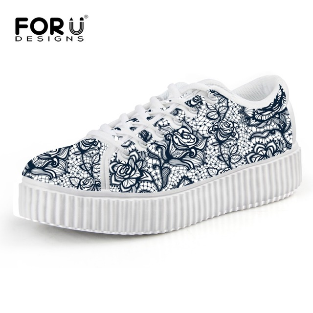 Summer Spring Vintage Woman Creepers Shoes Lace-Up Flats Black Solid Lace Print Female Flat Platform Soft Shoe Zapatos Mujer