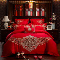 4/7Pcs Luxury wedding Bedding set 100% Cotton Embroidery King Queen size Bedsheet set Duvet cover Fit sheet Pillowcases