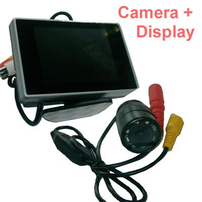 3.5LCD display+IR parking camera,car rearview camera with LCD display car parking camera 3.5 LCD cctv monitor display pl50 lcd