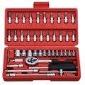 46 шт. 1/4-дюймовый набор гнезд инструмент для ремонта автомобиля трещотка набор динамометрических ключей комбинированный набор ключей Набор...