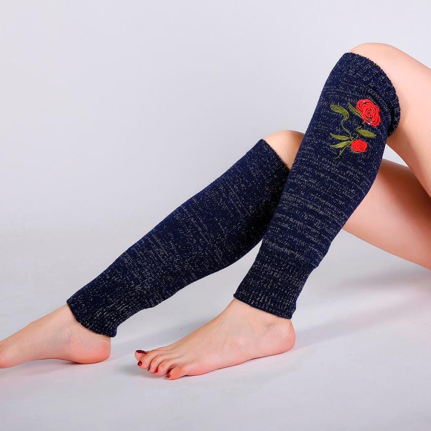 Mujeres invierno cálido de punto calentadores de pierna Crochet Rosa ...