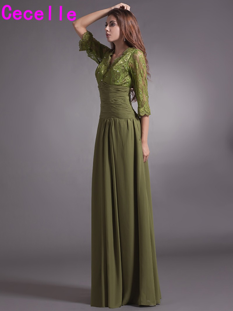 2017 Lace Chiffon Olive Green Long Mother of the Bride Dresses With 3/4 Sleeves V Neck Mothers Formal Party Dresses Custom Made
