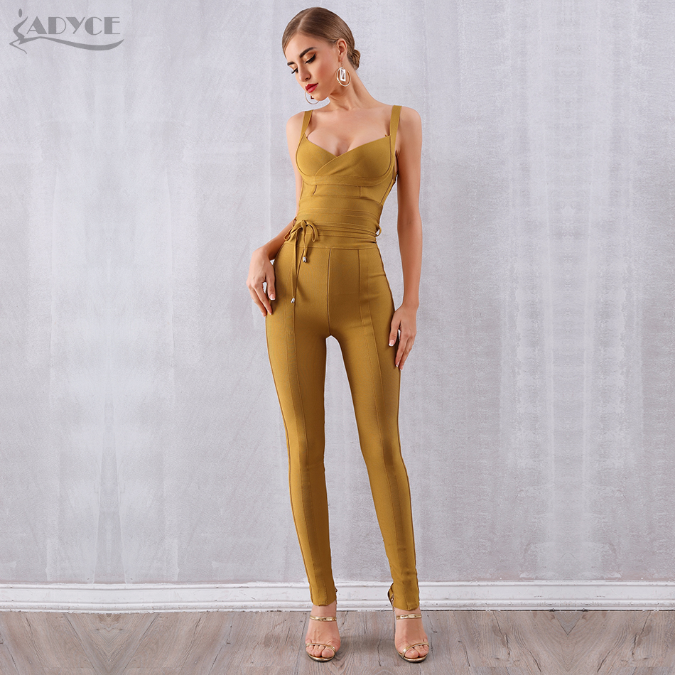 Adyce New Bodycon Bandage   Jumpsuits   For Women 2019 Sexy Black Blue Red V Neck Long Pants   Jumpsuits   Rompers Club Party Bodysuits