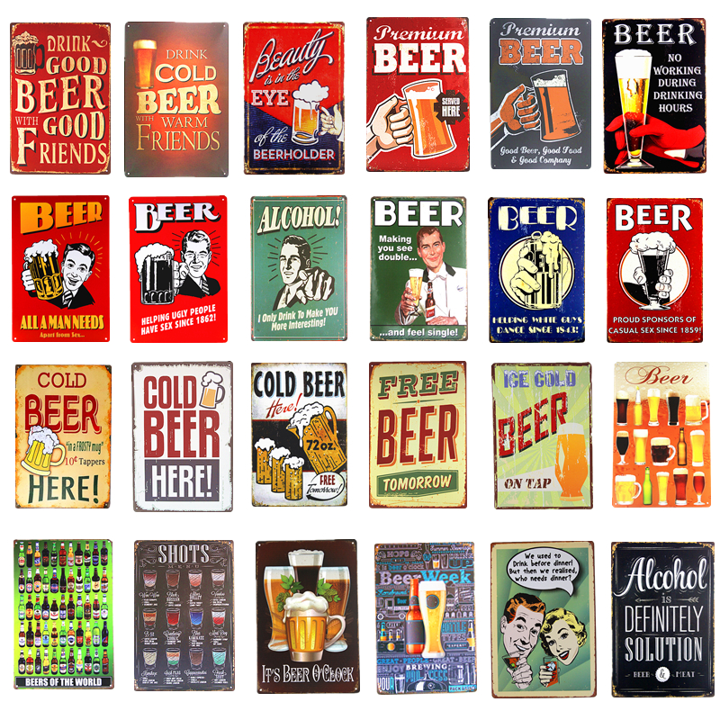 Brezplačno pivo, hladno pivo, pijača, pivo, kovinska pločevinka, znaki Wine Whiskey Rum, stenski plakat za pub Bar Brewery Club Hotel Home Decor