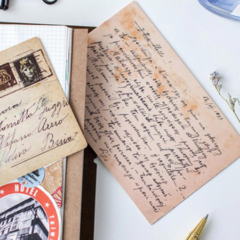 30 Pcs/pack Vintage Leaves Of Silent Postcards Leaf Old Time Memory Style Note Card  Postcard Style Diary Notebook Decoration