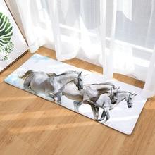 40*120cm Anti-slip 3D Horses Printed Flannel Doormat
