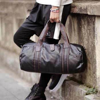 Sports Bag Men for Gym Yoga Soft Pu Leather Black Brown Cylindrical Sport Fitness Bag Male Shoulder Travel Luggage Bag XA594WD 2