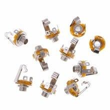 10 Pcs 1/4 Inch 6.35mm Stereo Socket Jack Female Connector Panel Mount Solder Female Connectors