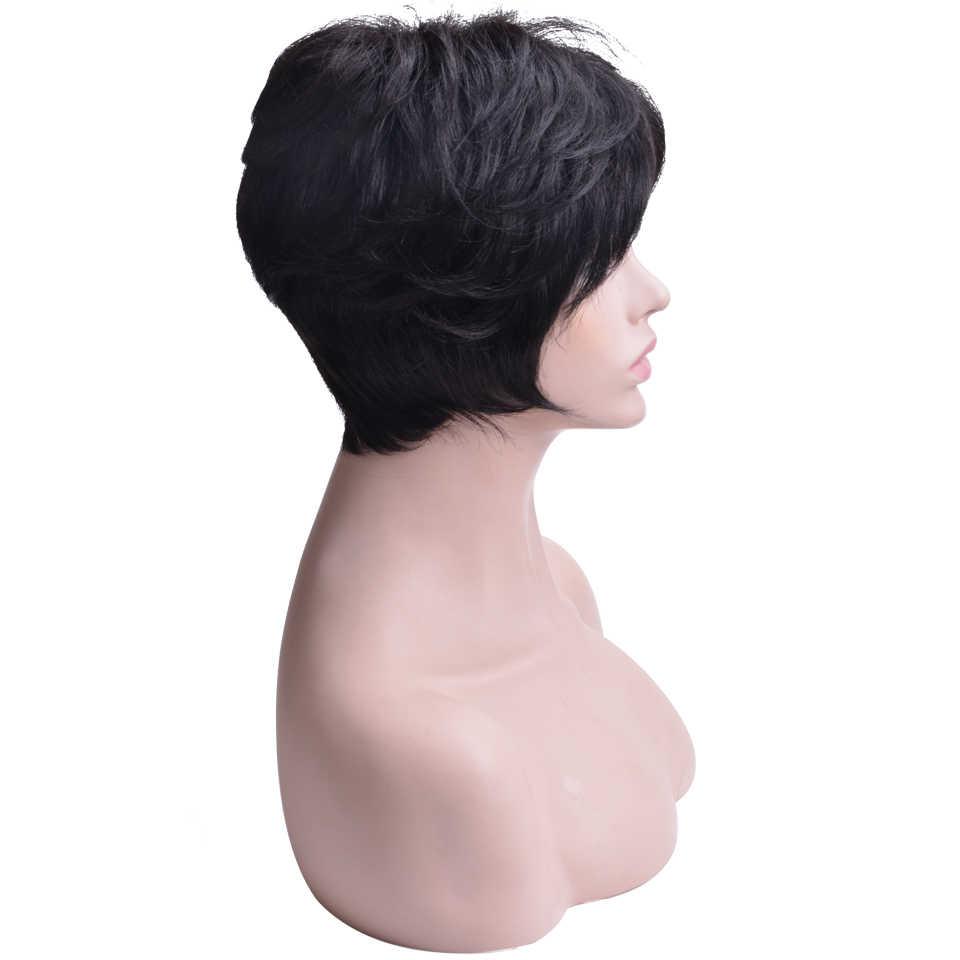 Peruka z naturalnych krótkich włosów dla czarnych kobiet peruka z falowanymi włosami brazylijska Remy włosy wolna część peruki z grzywką