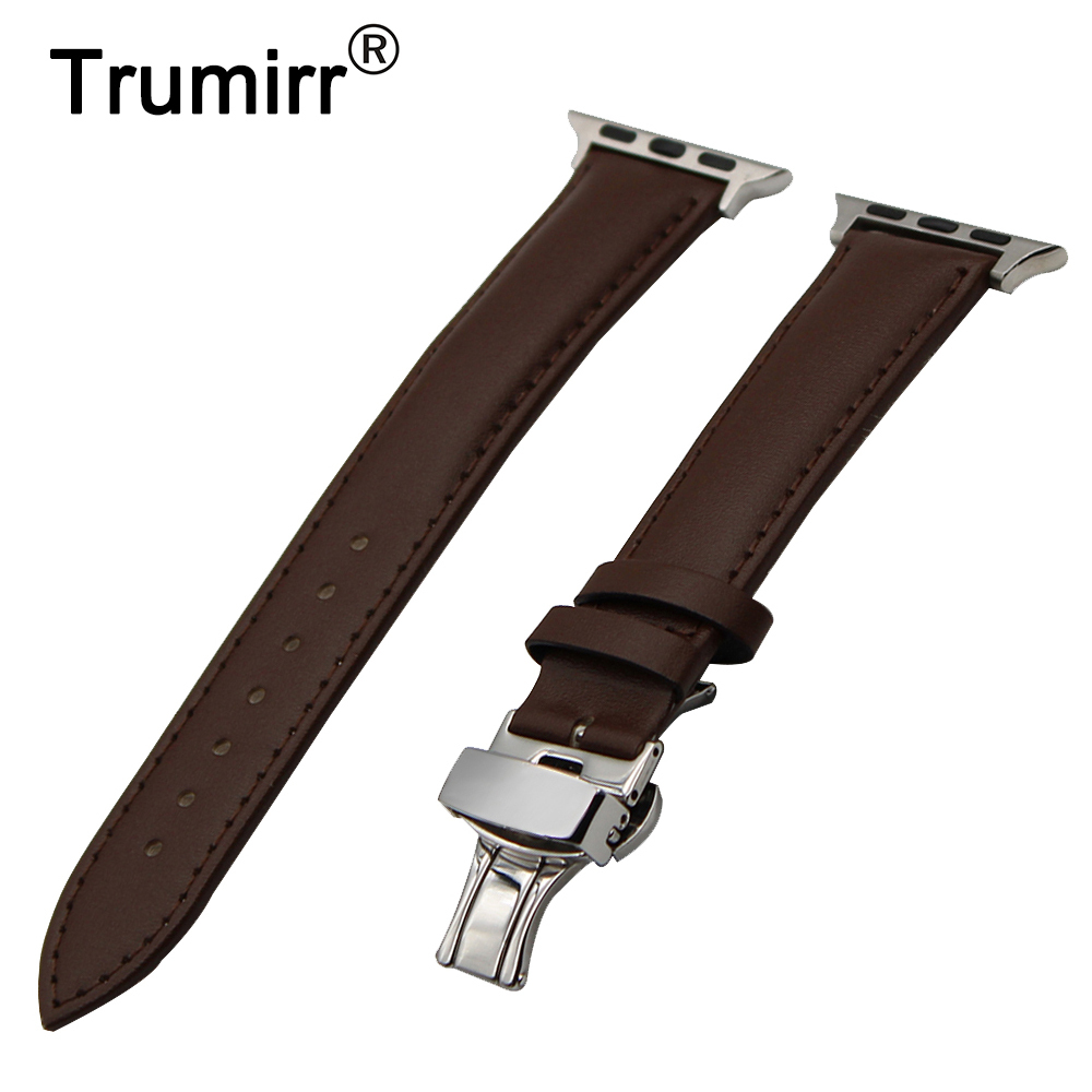 Genuine Leather Watchband for iWatch Apple Watch 38mm 42mm Replacement Band Butterfly Buckle Strap Wrist Bracelet Black Brown