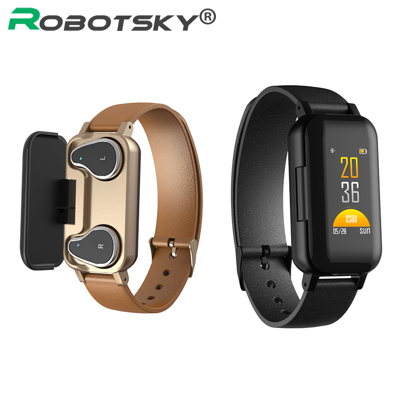 Robotsky <font><b>T89</b></font> <font><b>TWS</b></font> Bluetooth 5.0 Headphone Smart Bracelet Fitness Tracker Heart Rate Blood Pressure Sports Smart Watch Men Women image
