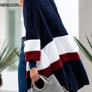 Women Sweater Wild Long Cardigan Autumn Winter Plush Warm Coat Fashion Colorful Stripe Sweaters Female Slim Long Outerwear como rasgar uma camiseta feminina