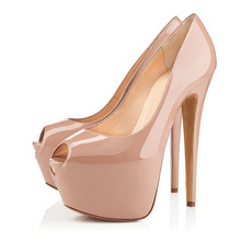 Sexy Super High Heels Platform Pumps Women Laies Patent Leather Stiletto Shoes Peep Toe Thin Heels Party Wedding Shoes TL-A0092