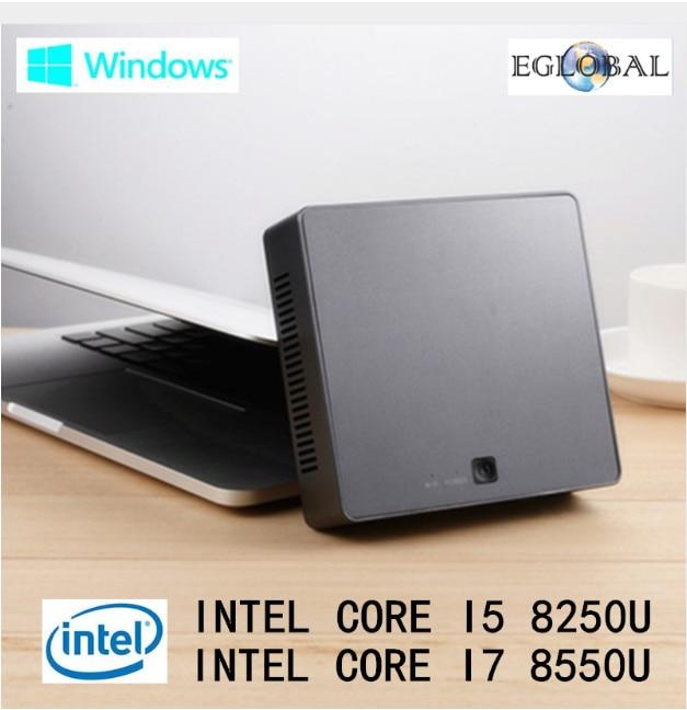 Eglobal DDR4 Mini PC Intel Core I7 8550U 16GB RAM 512GB SSD Nuc Mini Computer I5 8250U Windows 10 Quad Core Mini Pc Type-c HDMI