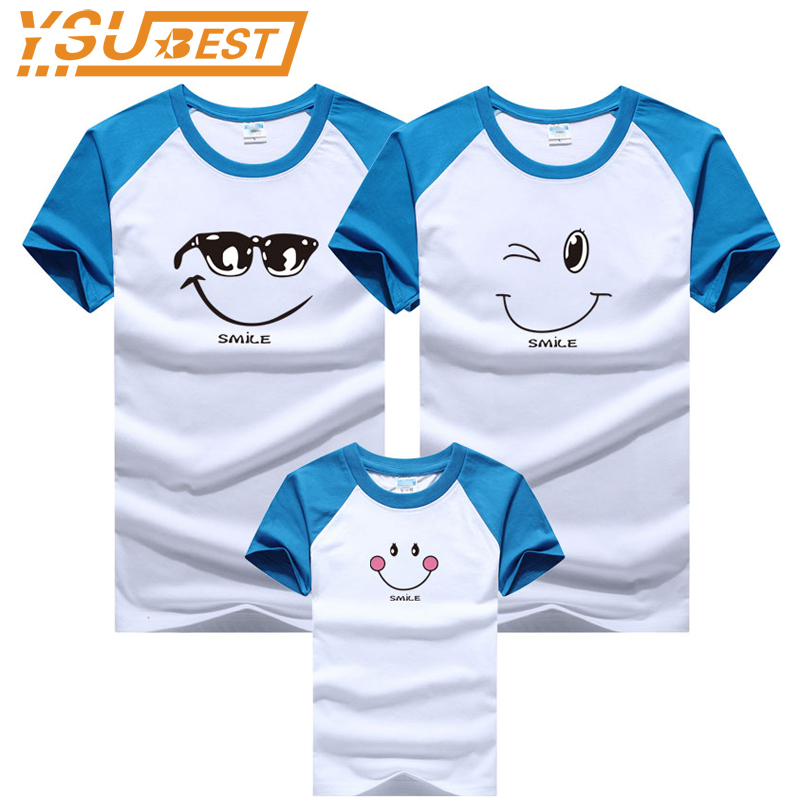 Family Matching Clothes New 2018 Summer Smiling Face Short-sleeve T-shirt For Mother Daughter And Father Son Clothes Family Look купить недорого в Москве